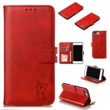 iPhone 7 Plus & 8 Plus horizontaal Kat patroon PU leren Flip Hoesje met houder  foto frame en opbergruimte voor pinpassen & geld (rood)