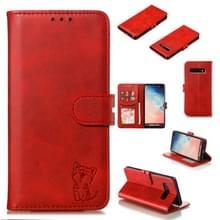 Lederen beschermhoes voor Galaxy S10 plus (rood)
