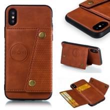 Lederen beschermhoes voor iPhone X & XS (bruin)