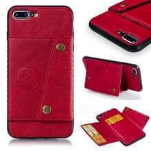 iPhone 7 Plus & 8 Plus magnetisch PU leren back cover Hoesje met opbergruimte voor pinpassen (rood)