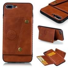 iPhone 7 Plus & 8 Plus magnetisch PU leren back cover Hoesje met opbergruimte voor pinpassen (bruin)