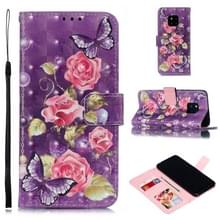 Lederen beschermhoes voor Huawei mate 20 Pro (paarse bloemen)