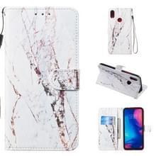 Lederen beschermende case voor Redmi Note 7 (wit marmer)