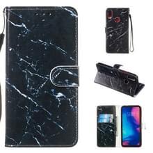Lederen beschermende case voor Redmi Note 7 (zwart marmer)