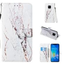 Lederen beschermhoes voor Huawei mate 20 Pro (wit marmer)