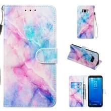 Lederen beschermhoes voor Galaxy S8 plus (blauw roze marmer)