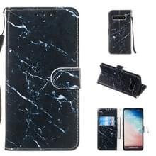 Lederen beschermhoes voor Galaxy S10 (zwart marmer)