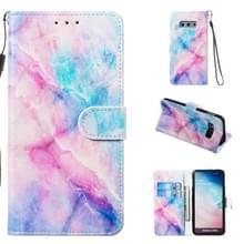 Lederen beschermende case voor Galaxy S10e (blauw roze marmer)