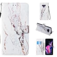 Lederen beschermhoes voor Galaxy Note9 (wit marmer)