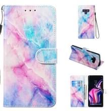 Lederen beschermhoes voor Galaxy Note9 (blauw roze marmer)