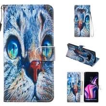 Lederen beschermhoes voor Galaxy Note9 (Blue Cat)