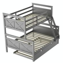 [Amerikaans pakhuis] Household Twin Over Full Bunk Bed met Ladder & Trundle(Grijs)