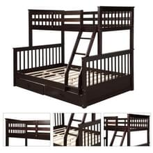 [Amerikaans pakhuis] LP000065EAA Twin-Over-Full Bunk Bed met ladders en twee opbergladen (koffie)