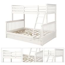 [Amerikaans pakhuis] LP000065EAA Twin-Over-Full Bunk Bed met ladders en twee opbergladen (Wit)
