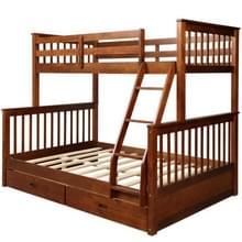 [Amerikaans pakhuis] LP000065EAA Twin-Over-Full Bunk Bed met ladders en twee opbergladen (Bruin)