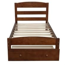 [Amerikaans pakhuis] WF191655AAD Platform Twin Bed Frame met opberglaades & houten latten  maat: 79 5x41 3x36 1 inch(Bruin)