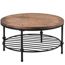 [Amerikaans pakhuis] Easy Assembly Rustic Natural Round Salontafel met opbergplank voor woonkamer  grootte: 90 x 90 x 46cm