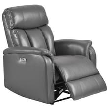 [Amerikaans pakhuis] PU Lederen Bekleding Lounge Chair Power Motion Fauteuil met USB Charge-poort  Amerikaanse stekker (Donkergrijs)