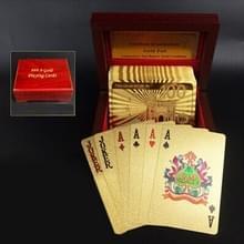 Creatieve Frosted gouden 100 Euro terug textuur Plastic uit Vegas naar Macau speelkaarten Texas Poker met houten geschenkdoos