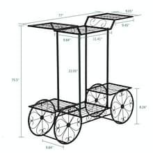 [Amerikaans pakhuis] Car Shape Plant Shelf 6 Stand Iron Decoratie  Grootte: 78 74 x 25 4 x 75 44 cm