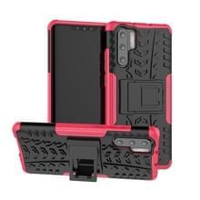Band textuur TPU + PC schokbestendig geval voor Huawei P30 Pro  met houder (roze)
