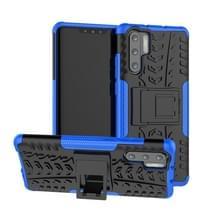 Tire Texture TPU + PC schokbestendig geval voor Huawei P30 Pro  met houder (blauw)