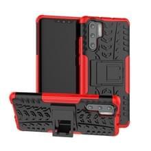 Tire Texture TPU + PC schokbestendig geval voor Huawei P30 Pro  met houder (rood)