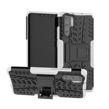 Tire Texture TPU + PC schokbestendig geval voor Huawei P30 Pro  met houder (wit)