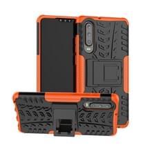 Tire Texture TPU + PC schokbestendig geval voor Huawei P30  met houder (oranje)