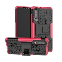 Tire Texture TPU + PC schokbestendig geval voor Huawei P30  met houder (roze)