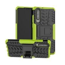 Tire Texture TPU + PC schokbestendig geval voor Huawei P30  met houder (groen)