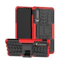 Tire Texture TPU + PC schokbestendig geval voor Huawei P30  met houder (rood)