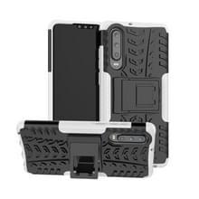 Tire Texture TPU + PC schokbestendig geval voor Huawei P30  met houder (wit)