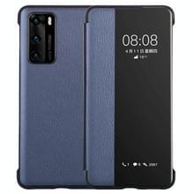 Voor Huawei P40 PU Lederen Horizontale Flip Case  met Smart View Window & Sleep / Wake-up Function (Donkerblauw)