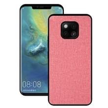 Schokbestendige doek textuur PC + TPU beschermhoes voor Huawei mate 20 Pro (roze)