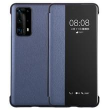 Voor Huawei P40 Pro PU Lederen Horizontale Flip Case  met Smart View Window & Sleep / Wake-up Function (Donkerblauw)