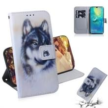 Witte Wolf patroon gekleurde tekening horizontale Flip lederen case voor Huawei mate 20 X  met houder & card slots & portemonnee