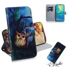 Olieverf uil patroon gekleurde tekening horizontale Flip lederen case voor Huawei mate 20 X  met houder & card slots & portemonnee