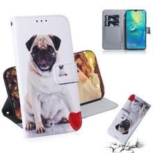 Mopshond patroon gekleurde tekening horizontale Flip lederen case voor Huawei mate 20 X  met houder & card slots & portemonnee