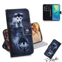 Wolf en hond patroon gekleurde tekening horizontale Flip lederen case voor Huawei mate 20 X  met houder & card slots & portemonnee