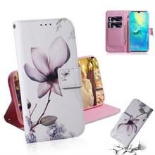Magnolia bloem patroon gekleurde tekening horizontale Flip lederen case voor Huawei mate 20 X  met houder & card slots & portemonnee