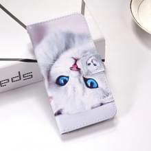 Witte kat patroon gekleurde tekening horizontale Flip lederen case voor Huawei mate 20 X  met houder & card slots & portemonnee & Lanyard