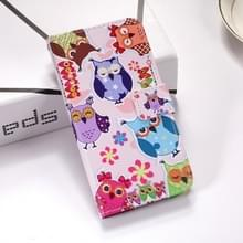 Kleurrijke uil patroon gekleurde tekening horizontale Flip lederen case voor Huawei mate 20 X  met houder & card slots & portemonnee & Lanyard
