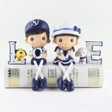 Creatieve hars liefde Navy familie set poppen ornamenten bruiloft slaapkamer decoratie geschenken (blauw)