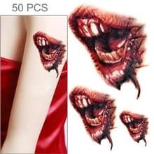 S-297 50 PCS Halloween terreur realistische wond bloed mond tijdelijke tattoo sticker