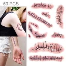 S-263 50 PCS Halloween terreur realistische wond letsel litteken tijdelijke tattoo sticker