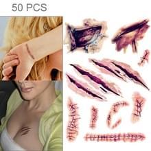 V-061 50 PCS Halloween terreur wond realistische krassen letsel litteken tatouage sticker
