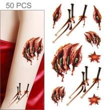 S-024 50 PCS Halloween terreur realistische wond bloed letsel litteken tijdelijke tattoo sticker