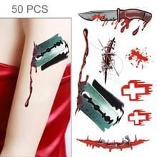 S-299 50 PCS Halloween terreur wond realistische bloed schade litteken tijdelijke tattoo sticker