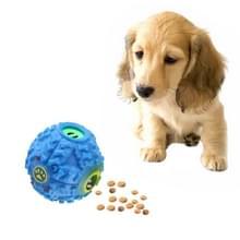 Pet voedsel dispenser piepende giggle Quack geluid opleiding speelgoed kauwen bal  grootte: M  bal diameter: 9.2 cm (blauw)